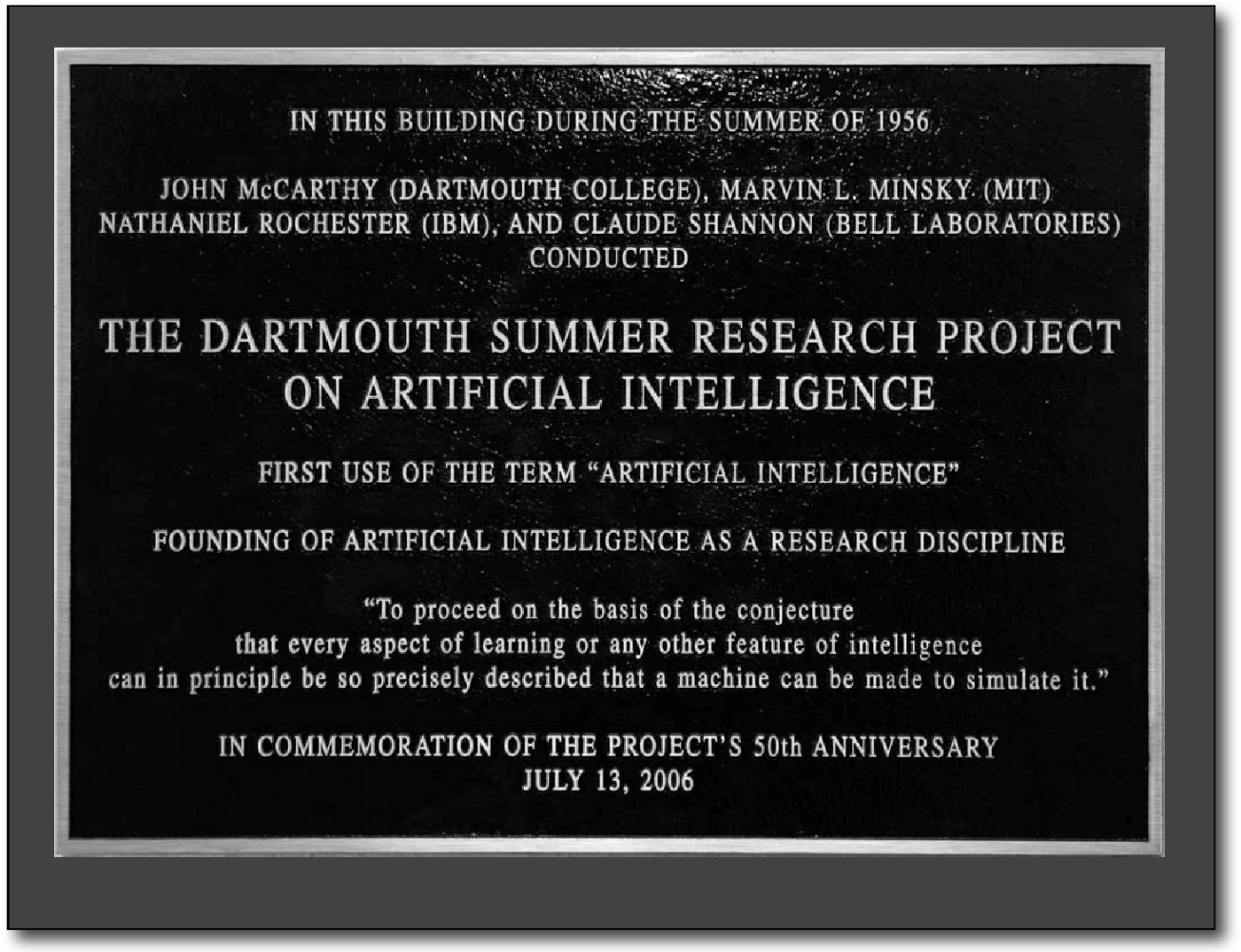 History of AI - The 1956 Dartmouth Workshop